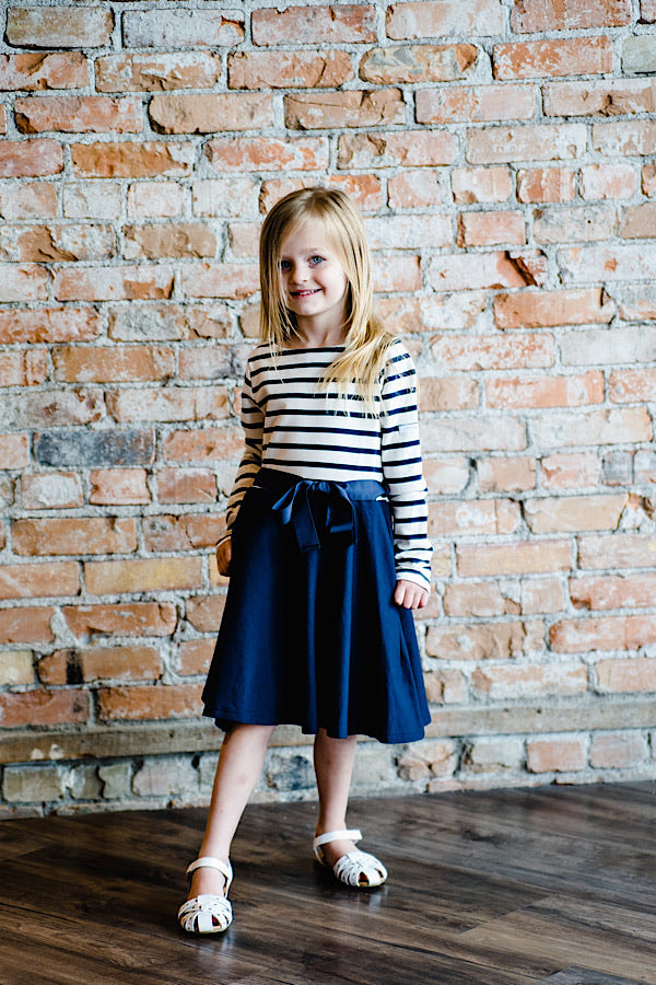 Charlotte Long Sleeve Striped Flare Dress - Navy