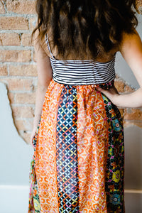 Jasmine Striped and Floral Maxi Dress