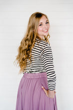 Load image into Gallery viewer, Avery Long Sleeve Striped Top - Black & White