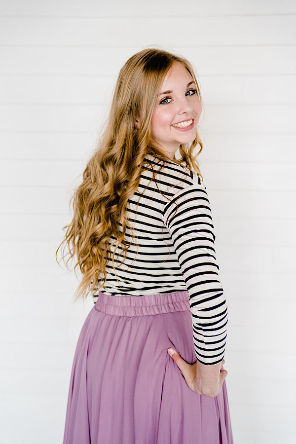 Avery Long Sleeve Striped Top - Black & White