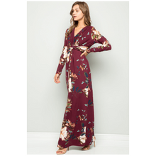 Load image into Gallery viewer, Ivy Twist Front Floral Maxi Dress - Burgundy,Womens Dresses,LeleGray.com