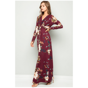 Ivy Twist Front Floral Maxi Dress - Burgundy,Womens Dresses,LeleGray.com