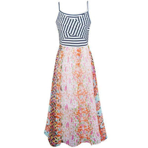 Jasmine Striped and Floral Maxi Dress,dress,LeleGray.com