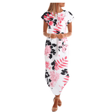 Load image into Gallery viewer, Leah Chiffon Midi Dress -White Floral,Womens Dresses,LeleGray.com
