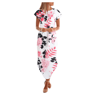 Leah Chiffon Midi Dress -White Floral,Womens Dresses,LeleGray.com