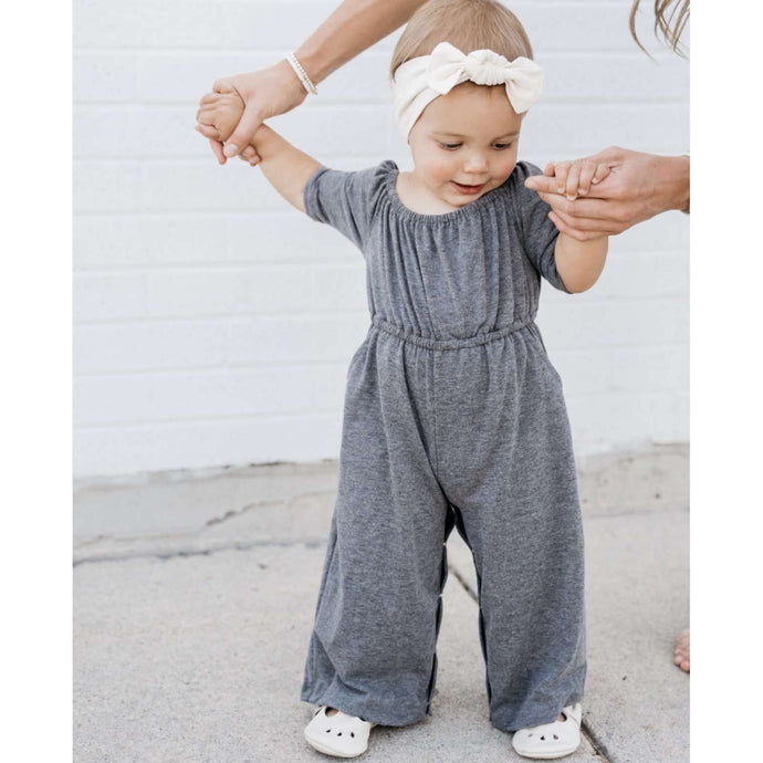 Letty Cold Shoulder Half Sleeve Jumpsuit- Gray,jumpsuit,LeleGray.com