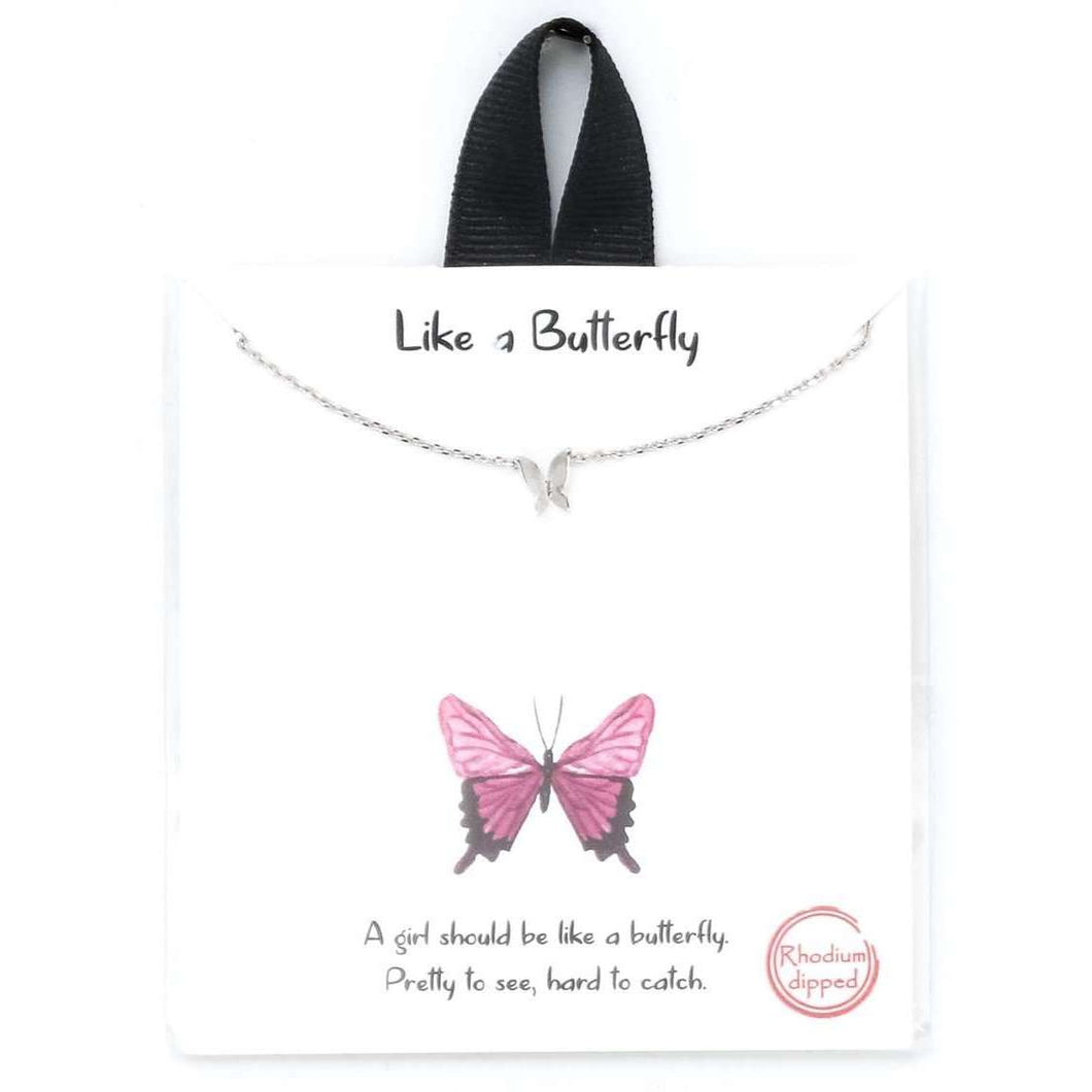 Like A Butterfly Mini Charm Necklace - Silver,Jewelry,LeleGray.com