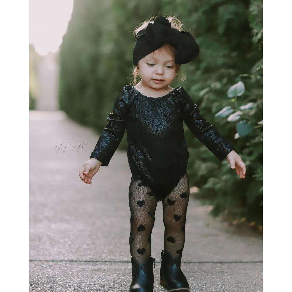 Livia Long Sleeve Leotard - Time to Shine Onyx,Leotard,LeleGray.com