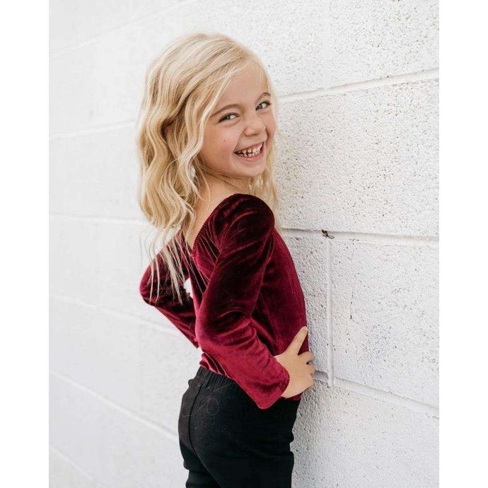 Livia Long Sleeve Velvet Leotard - Cranberry,Leotard,LeleGray.com