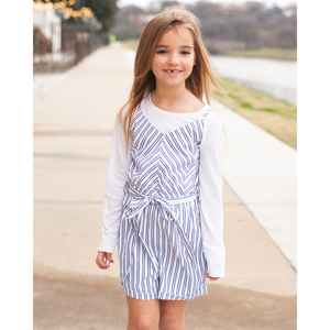 Lynlee Romper - White & Navy Striped,Romper,LeleGray.com