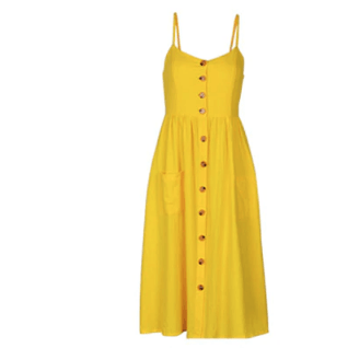 Marley Bohemian Front Button Dress with Pockets - Yellow,Small / Yellow,Womens Dresses,LeleGray.com