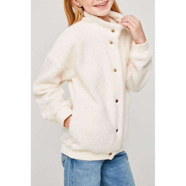 Mia Button Down Sherpa Jacket - Ivory,top,LeleGray.com