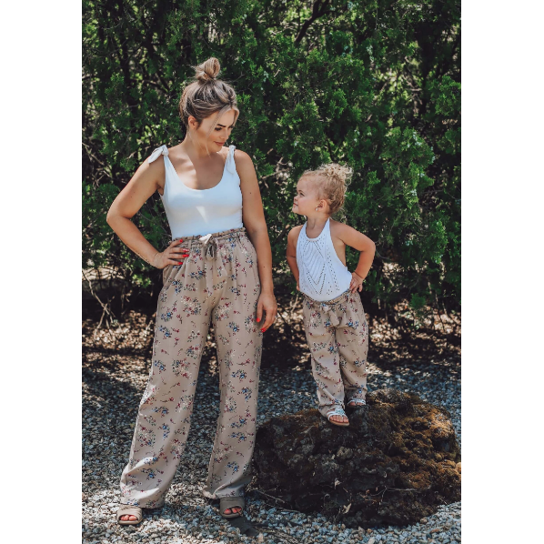 Mommy and Me Bethany Palazzo Pants - Khaki Floral,bottoms,LeleGray.com