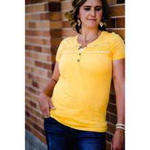 Load image into Gallery viewer, NEW August Button Tee with Lace Trim - Gold,womens top,LeleGray.com