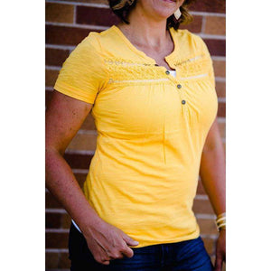 NEW August Button Tee with Lace Trim - Gold,womens top,LeleGray.com