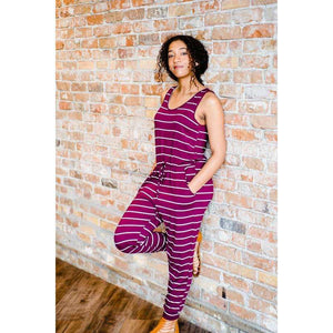 NEW Cambria Striped Sleeveless Romper - Wine,Womens Romper,LeleGray.com