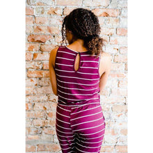 Load image into Gallery viewer, NEW Cambria Striped Sleeveless Romper - Wine,Womens Romper,LeleGray.com