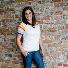 Load image into Gallery viewer, NEW Caroline Retro Striped Tee - Oatmeal,womens top,LeleGray.com