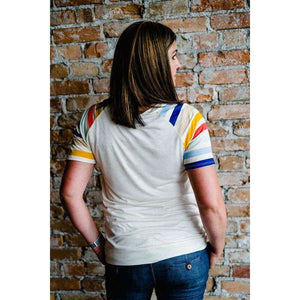 NEW Caroline Retro Striped Tee - Oatmeal,womens top,LeleGray.com