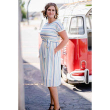 Load image into Gallery viewer, NEW Elise Striped Rounded Neck Dress with Pockets - Mint,Womens Dresses,LeleGray.com