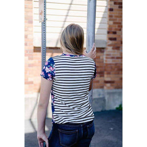 NEW Eliza Frocket Tee - Striped Peony,tops,LeleGray.com