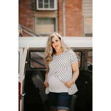 Load image into Gallery viewer, NEW Gabriella Polka Dot Maternity & Nursing Top - Ivory/Navy,Maternity,LeleGray.com