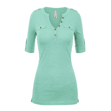 Load image into Gallery viewer, NEW Helen 3/4 Sleeve Henley Top - Spearmint,womens top,LeleGray.com