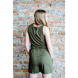 NEW Joy Sleeveless Shorts Romper - Navy,Womens Romper,LeleGray.com