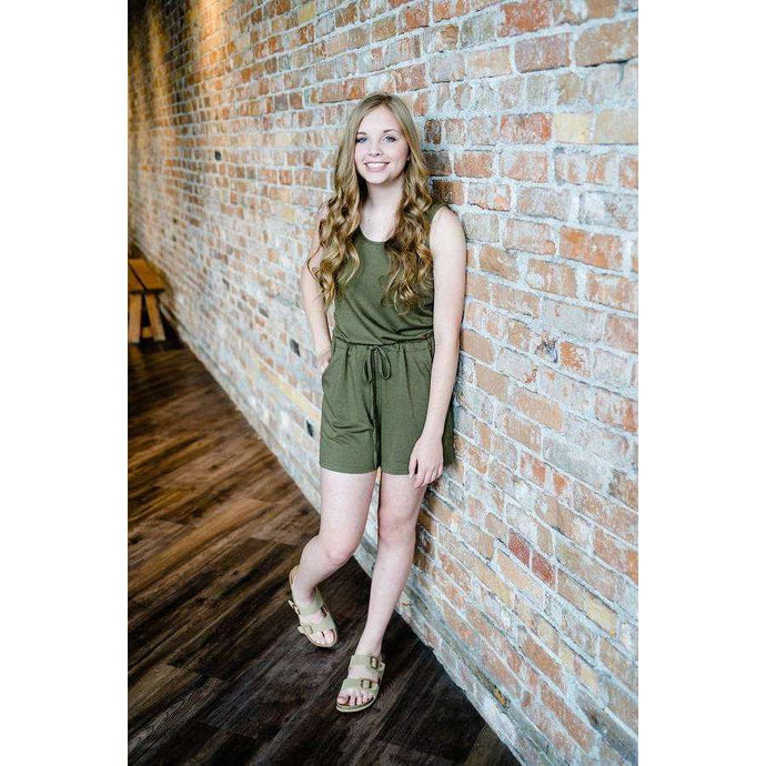 NEW Joy Sleeveless Shorts Romper - Olive,Womens Romper,LeleGray.com