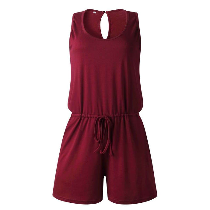 NEW Joy Sleeveless Shorts Romper - Wine,Womens Romper,LeleGray.com