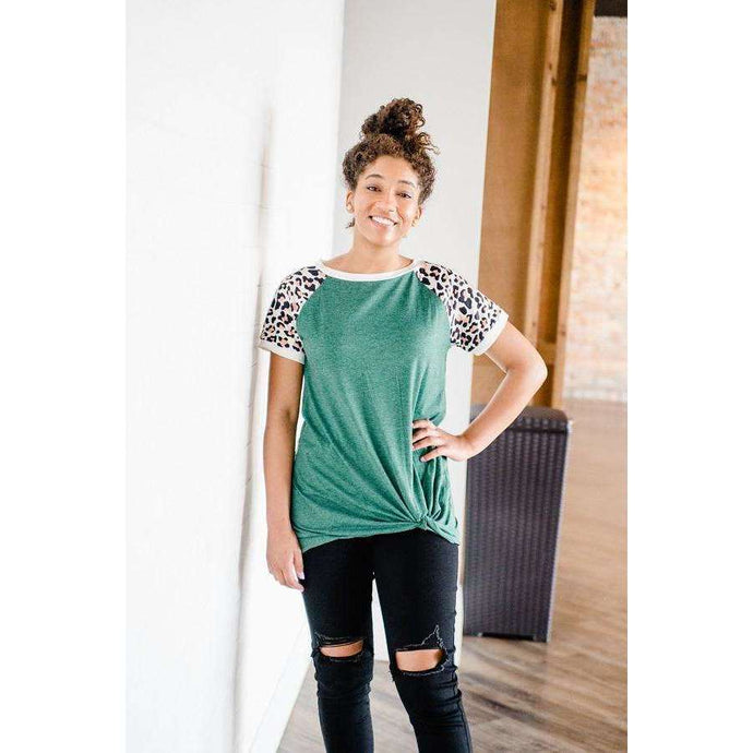 NEW Leona Leopard Front Knot Green Top,womens top,LeleGray.com