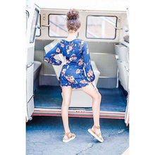 Load image into Gallery viewer, NEW Maria Shorty Romper  - Midnight Wild Blossom,Romper,LeleGray.com