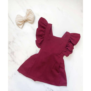 NEW Valletta Ruffle Back Suspender Dress - Burgundy,Dress,LeleGray.com