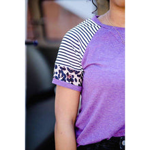 Load image into Gallery viewer, NEW Zoey Leopard and Striped Crew Neck Tee - Purple,womens top,LeleGray.com
