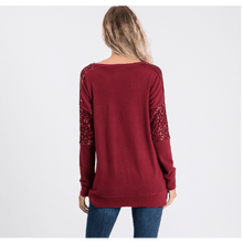 Load image into Gallery viewer, Noel Sequence Pocket Sweater - Burgandy,womens top,LeleGray.com