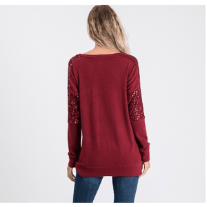 Noel Sequence Pocket Sweater - Burgandy,womens top,LeleGray.com