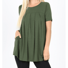 Load image into Gallery viewer, Penelope Round Neck Pleated Top,Medium / Army Green,top,LeleGray.com