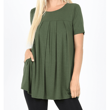 Penelope Round Neck Pleated Top,Medium / Army Green,top,LeleGray.com