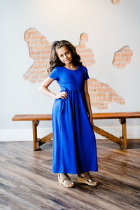Alexa Maxi Dress with Pockets - Blue