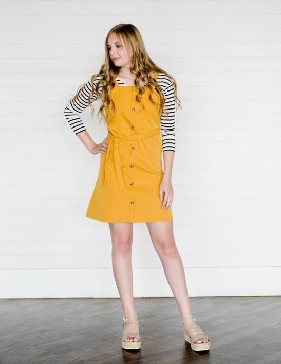 Sawyer Button Front Mini Dress - Mustard