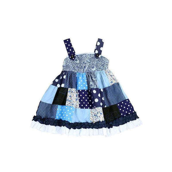 Primrose Patchwork Jumper Dress - Blue,dress,LeleGray.com