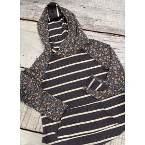 Reese Striped and Floral Hoodie - Navy,top,LeleGray.com