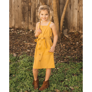 Sawyer Button Front Mini Dress - Mustard,dress,LeleGray.com