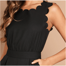 Load image into Gallery viewer, Shaylynn Scallop Edge Jumpsuit - Black,Womens Dresses,LeleGray.com