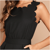 Shaylynn Scallop Edge Jumpsuit - Black,Womens Dresses,LeleGray.com