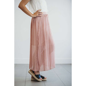 Sheryl Pleated Maxi Skirt - Mauve,bottoms,LeleGray.com