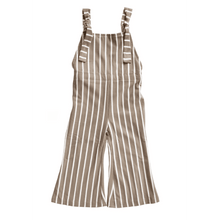 Load image into Gallery viewer, Suspender Bell Bottom Jumpsuit - Mocha & White Stripe,bottoms,LeleGray.com