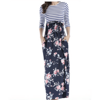 Tammy Floral and Striped Maxi Dress - Blue,Womens Dresses,LeleGray.com