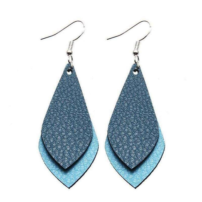 Tear Drop Two Color Leather Earrings - Blue,Jewelry,LeleGray.com