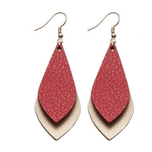 Tear Drop Two Color Leather Earrings - Red & Tan,Jewelry,LeleGray.com